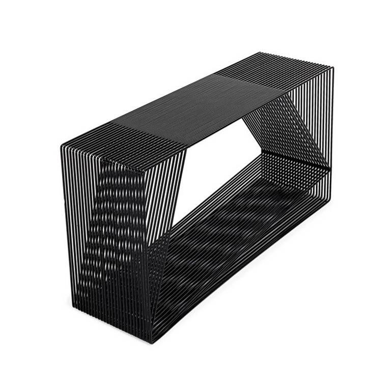 LOOP - Powder-Coated Steel Wire Minimal Geometric Sculptural Console Table For Sale
