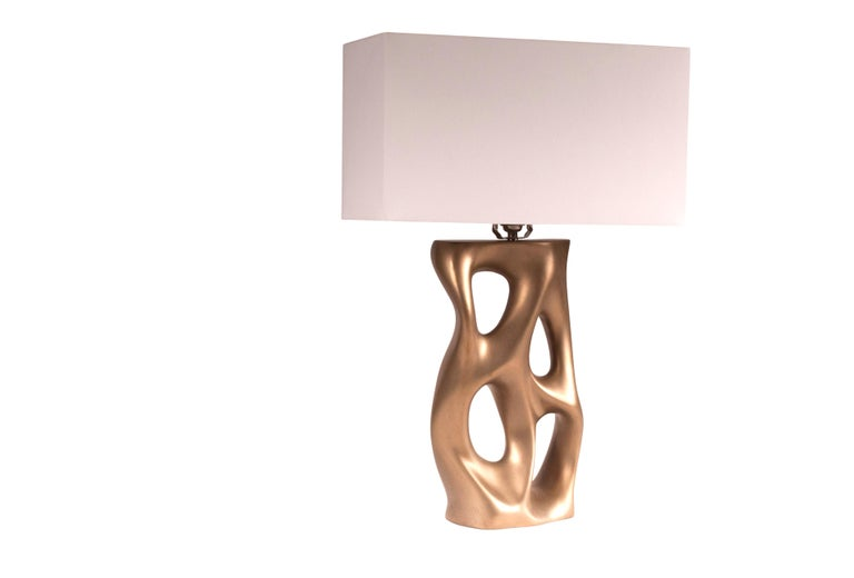 Carved Loop Table Lamp, Gold Finish  For Sale