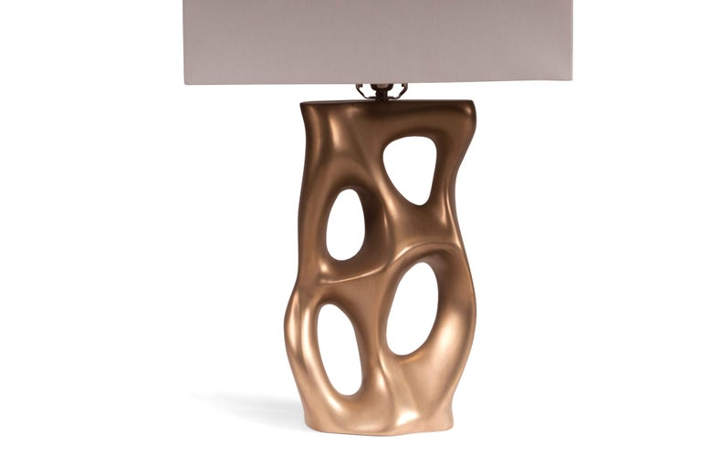 Loop Table Lamp, Gold Finish  In New Condition For Sale In Gardena, CA