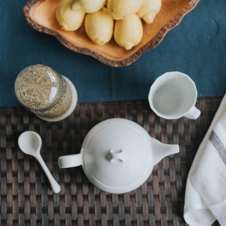 Loop Teapot Ink Matte Black Tea Set with Mugs Contemporary Glazed Porcelain 9
