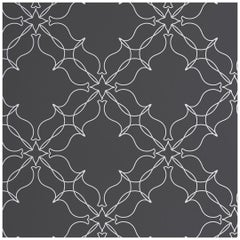 Loops Designer Wallpaper in Color Chalk 'White on Charcoal'