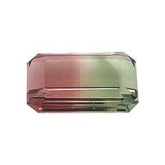 Loose 3.28 Carat Bi-Color Tourmaline Emerald Cut, Watermelon, Ring Gemstone