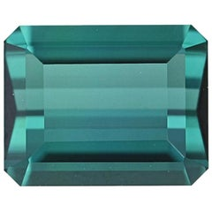 Loose Indicolite Tourmaline, Rectangle Cut 3.93 Carat Green Blue Solitaire