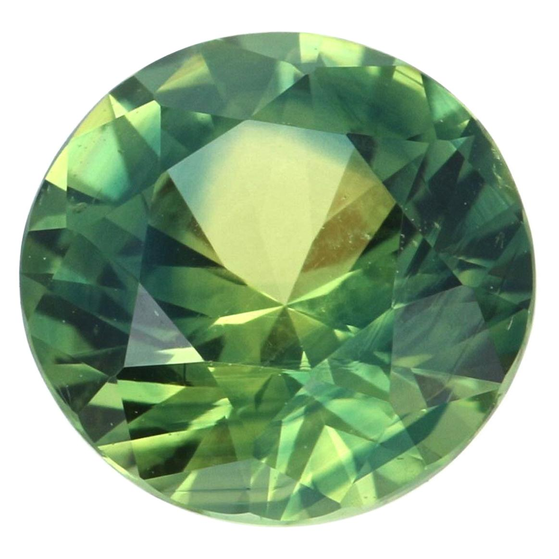 Loose Sapphire, Round Brilliant Cut 1.45ct AGL Bluish Yellowish Green Solitaire