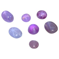 Loose Star Sapphire Lot, 7 Fancy Colored Unset Gemstones, 9.70 Carat Total