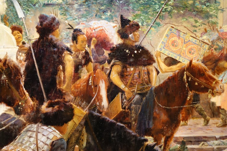 Looting of a Gallo-Roman villa by Huns horsemen. Oil on canvas, signed G.Rochegrosse, dated 1894. Georges Antoine Rochegrosse (1859-1938), from an intellectual and artistic background, was a brilliant student of the Académie Julian, and afterwards