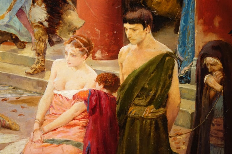 Painted Looting of a Gallo-Roman Villa, Painting Signed Georges Rochegrosse For Sale
