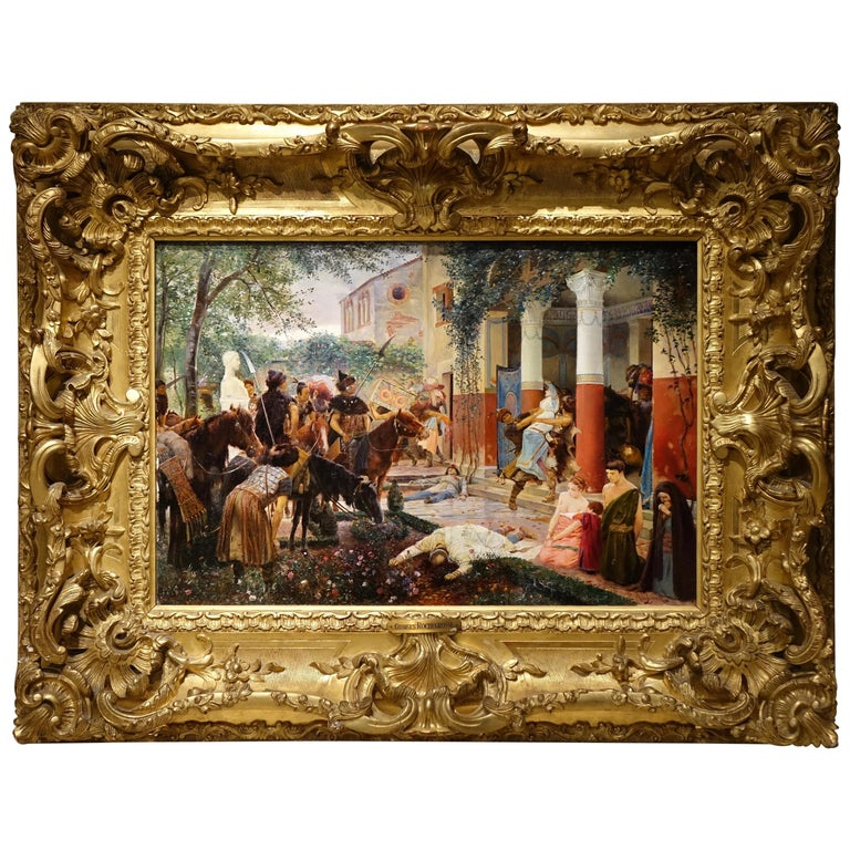 Looting of a Gallo-Roman Villa, Painting Signed Georges Rochegrosse For Sale