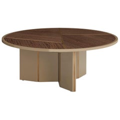 Lorca Coffee Table with Eucalyptus Frisé Top and Brass Color Trimmings