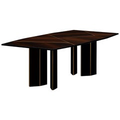Lorca Dining Table in Eucalyptus Fumé with Antique Brass Color Trimmings
