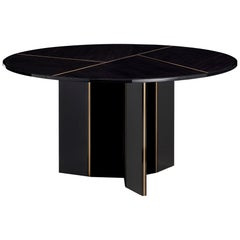 Lorca II Dining Table in Eucalyptus Fumé Top and Brass Color Trimmings