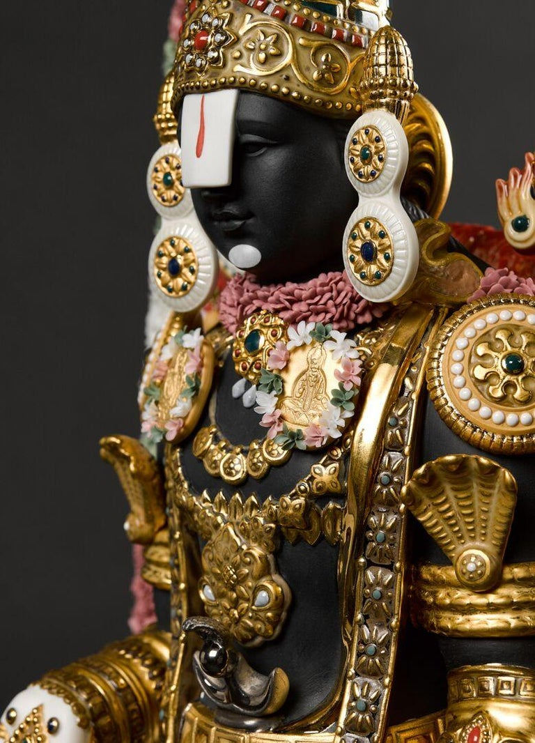 Sculpture of the Hindu Deity Lord Balaji with a combination of matte porcelain and gloss with enamels and perfectly ornate with bright colors and different finishes of gold and silver luster.  Balaji is a limited edition of 499 units. Under the