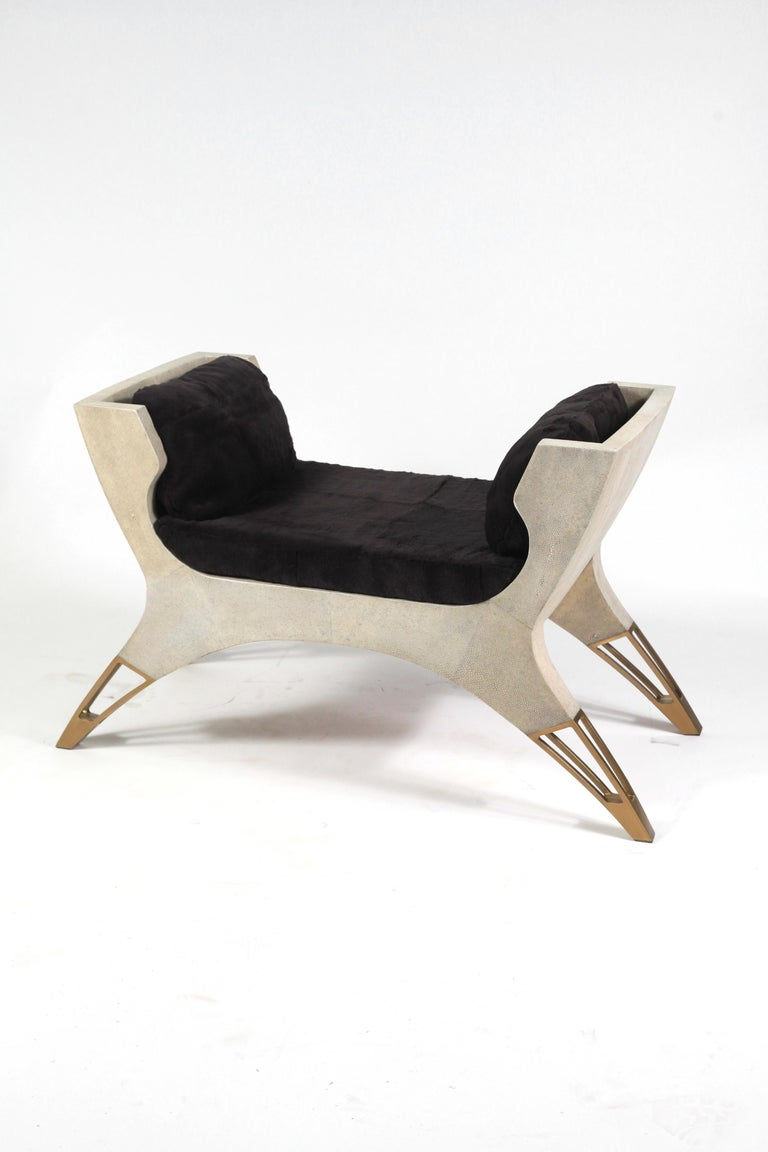 Lord Bench in Cream Shagreen and Bronze-Patina Brass by R&Y Augousti For Sale 3
