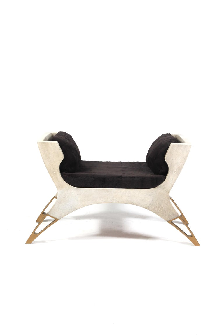 Lord Bench in Cream Shagreen and Bronze-Patina Brass by R&Y Augousti For Sale 2