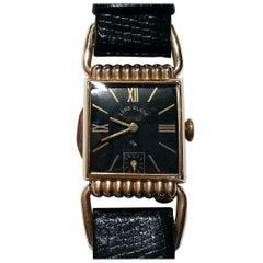 Lord Elgin 14-Karat Gold Filled Drivers Swing Lug Wristwatch