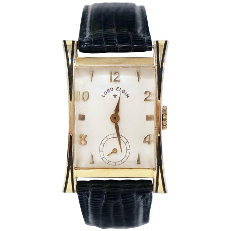 "Lord Elgin 14 Karat Gold Filled ""Thornton"" Watch, circa 1953 For Sale"