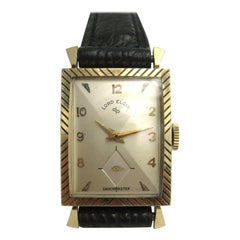 Lord Elgin 21 Jewels 14 Karat Gold Wristwatch Shockmaster