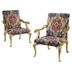 Lord Monson's, Wanstead House Chairs a Pair of George I Carved & Gilded Armchair