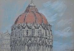 The Baptistry Pisa - Lord Paul Ayshford Methuen: Pastel Italy Modern British Art