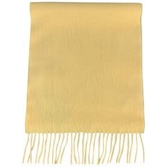 LORD Solid Pastel Yellow Cashmere Fringe Scarf