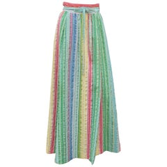 Lord & Taylor Maxi Seersucker Striped Wrap Skirt, 1960's
