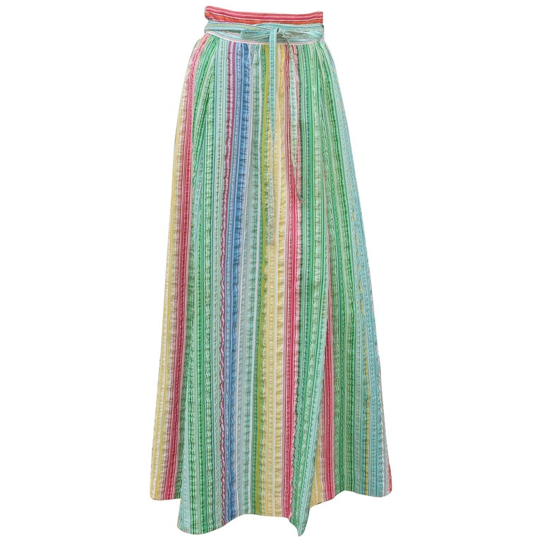 Lord And Taylor Maxi Seersucker Striped Wrap Skirt 1960 S