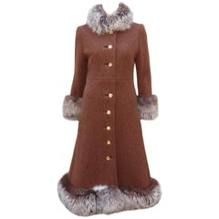Lord & Taylor Mohair Wool Knit Midi Coat With Fox Fur Trim, 1960's