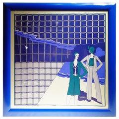 Loredano, Framed Vintage Silk Scarf, circa 1980