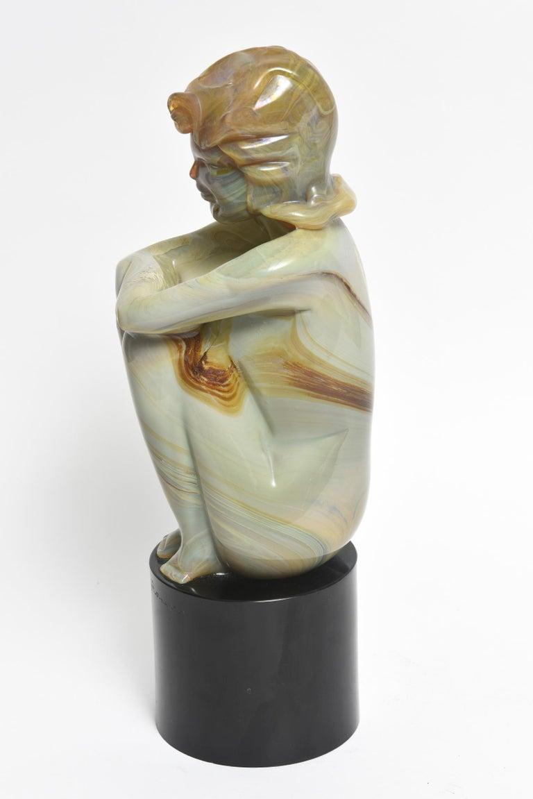 Hand-Crafted Loredano Rosin Murano Calcedonia Art Glass Female Kneeling Nude Sculpture For Sale