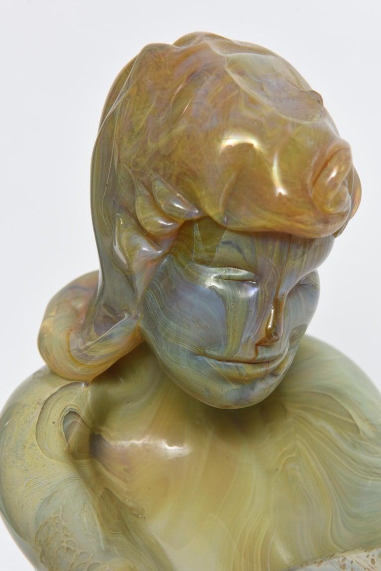 20th Century Loredano Rosin Murano Calcedonia Art Glass Female Kneeling Nude Sculpture For Sale
