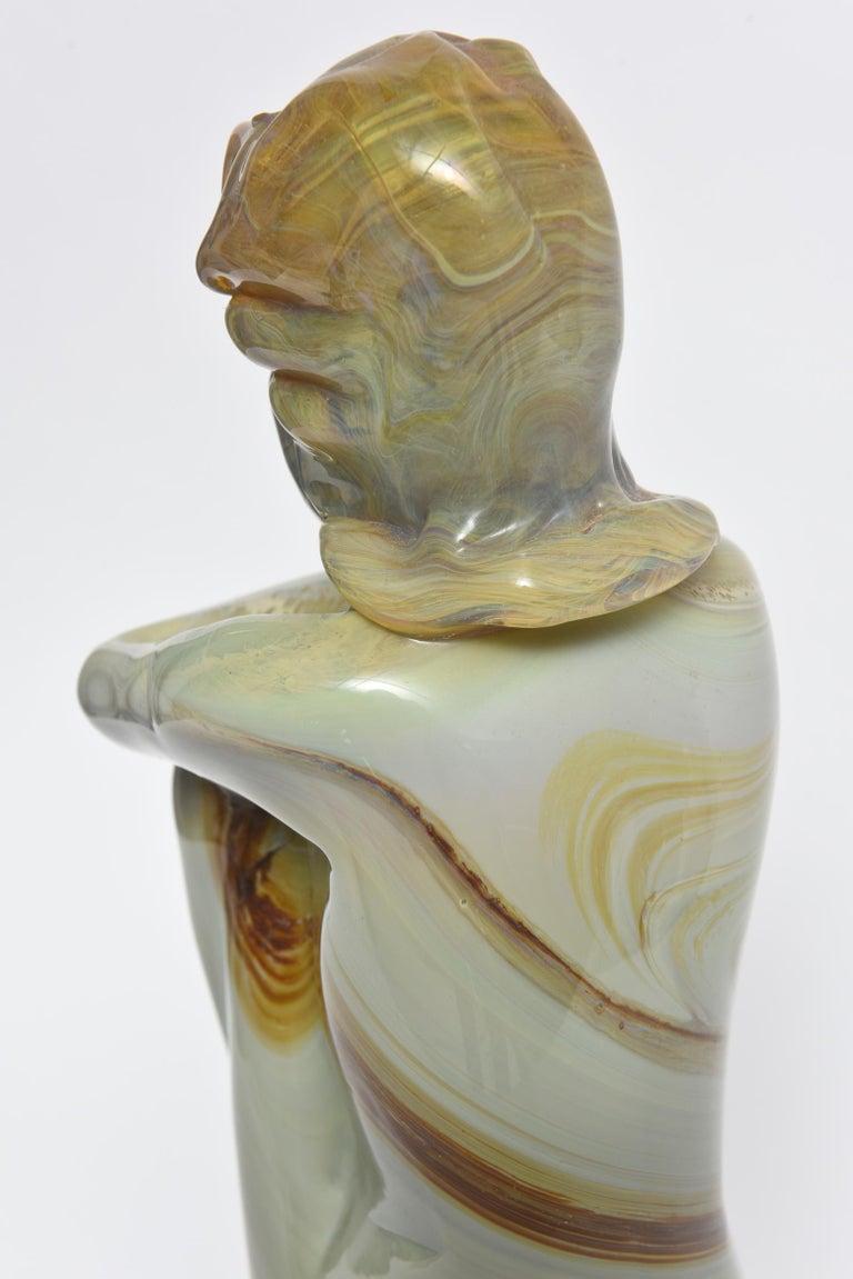 Loredano Rosin Murano Calcedonia Art Glass Female Kneeling Nude Sculpture For Sale 2