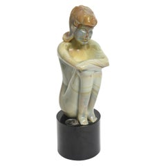 Loredano Rosin Murano Calcedonia Art Glass Female Kneeling Nude Sculpture