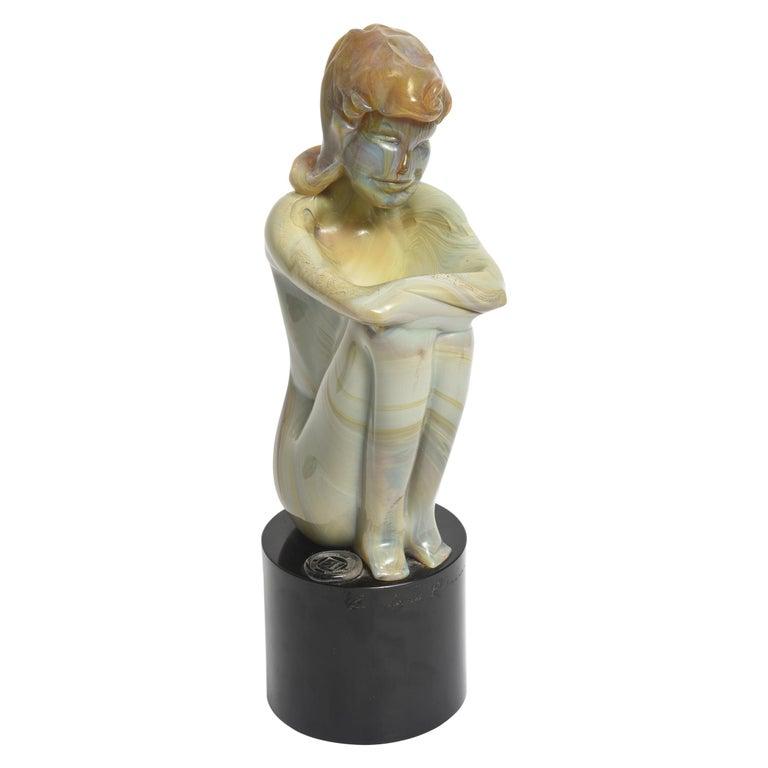 Loredano Rosin Murano Calcedonia Art Glass Female Kneeling Nude Sculpture For Sale