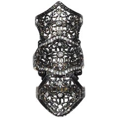 Loree Rodkin 18k Rhodium White Gold Shield Ring with Diamonds