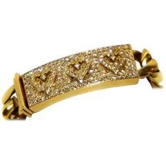 Loree Rodkin Rare 18 Karat Diamond Pave Three Hearts Bar Bracelet