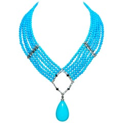 Loree Rodkin Rare Sleeping Beauty Turquoise Diamond Sapphire Necklace