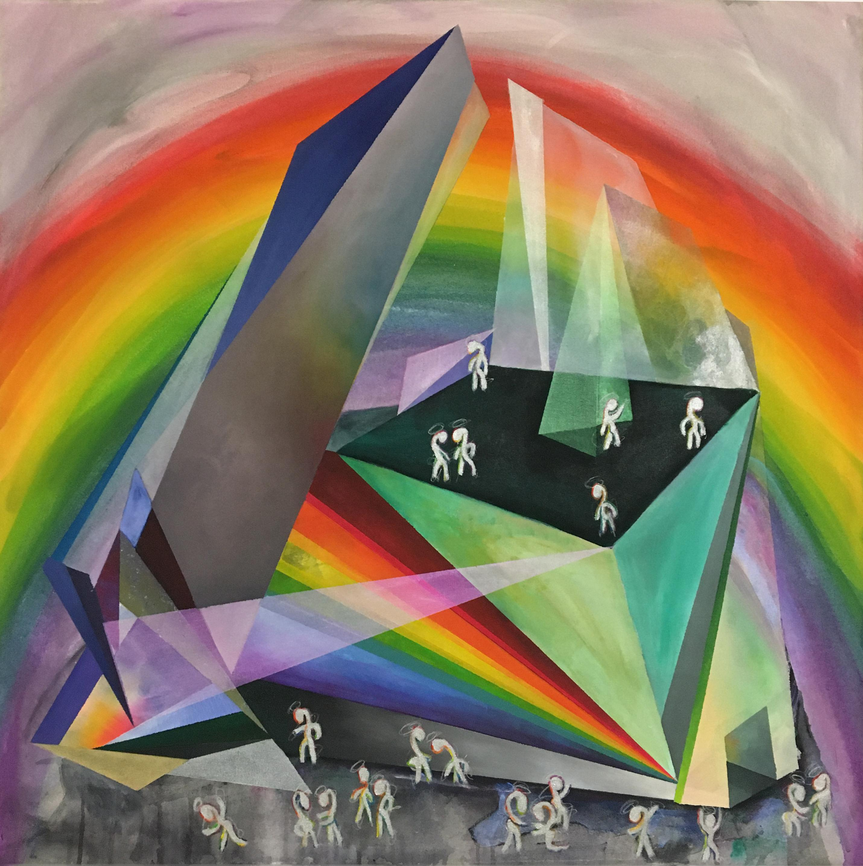 """Museum of Rainbow Light, surreal abstract, gemstone crystal, 32x32"""" oil painting"""