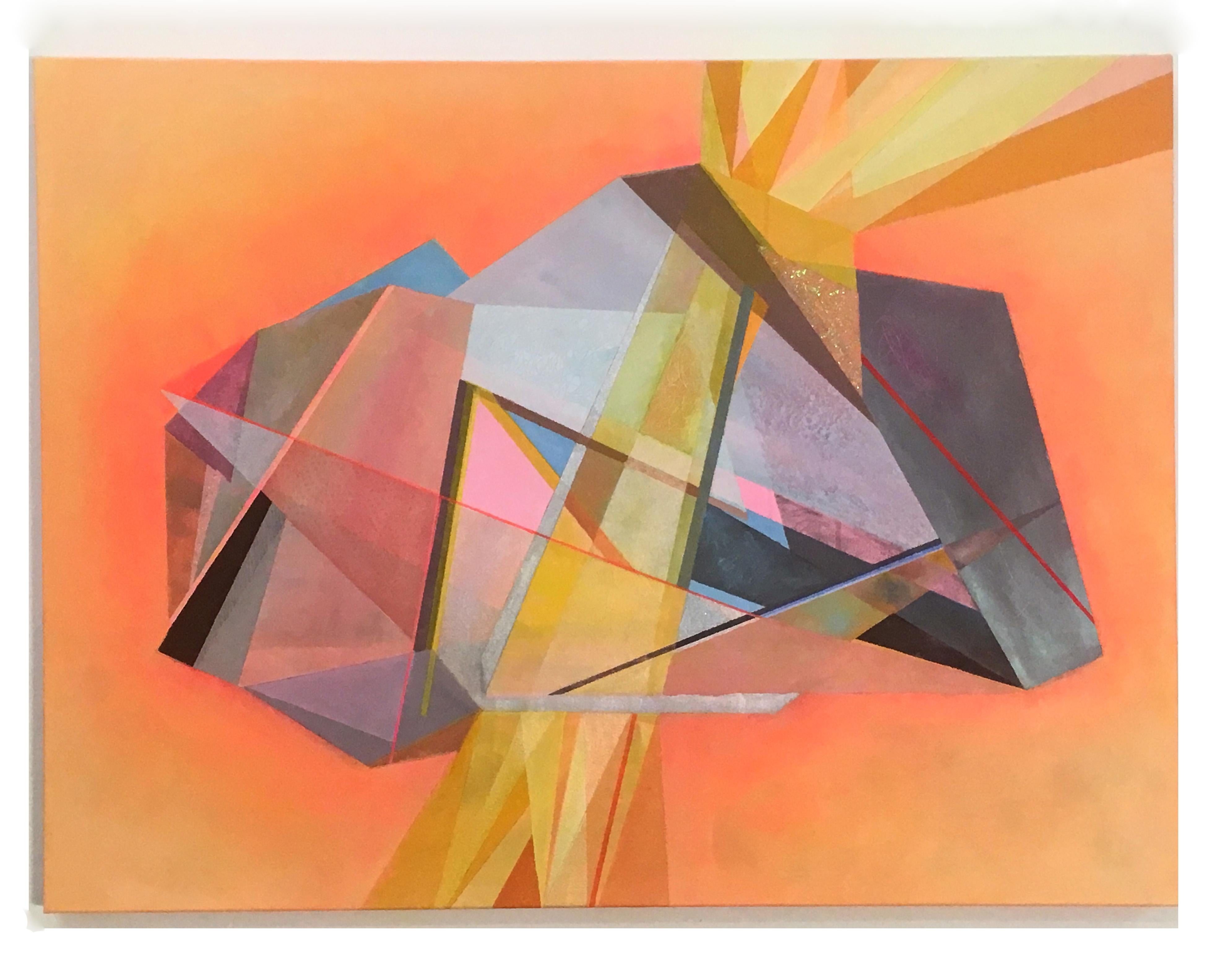 Peace and Power, abstract gemstone crystal, oil painting, yellow, peach, pink