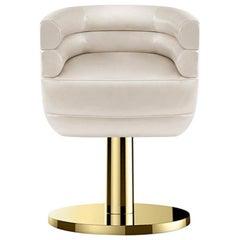 Loren Dining Chair in Beige with Brass Base