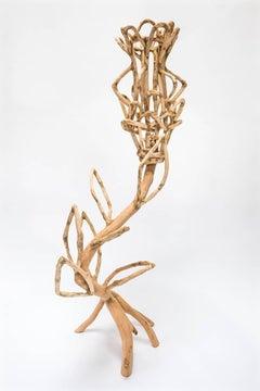 Loren Eiferman, Voynich #1, 124 Pieces of Wood, 2015, Wood, Putty, 54x30x20 in