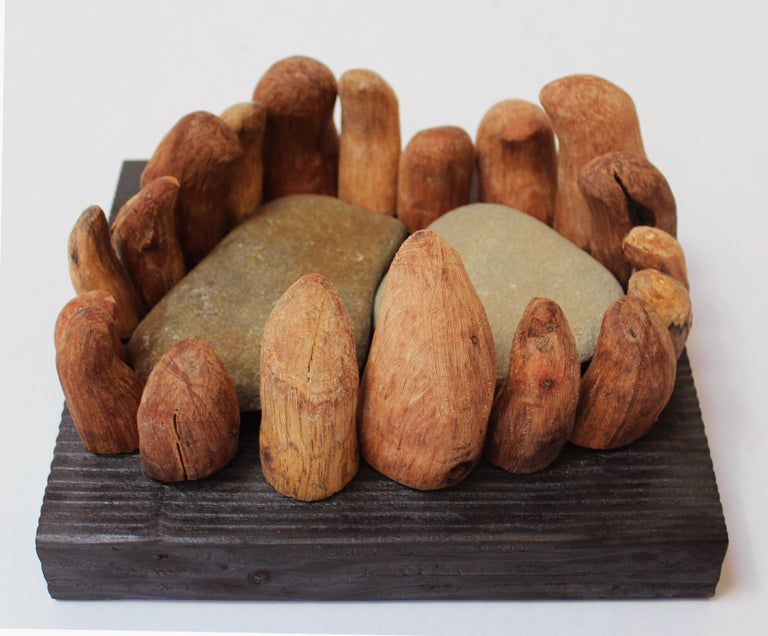 Loren Eiferman Abstract Sculpture - Wood Sculpture, 19 pieces: 'Incantation'