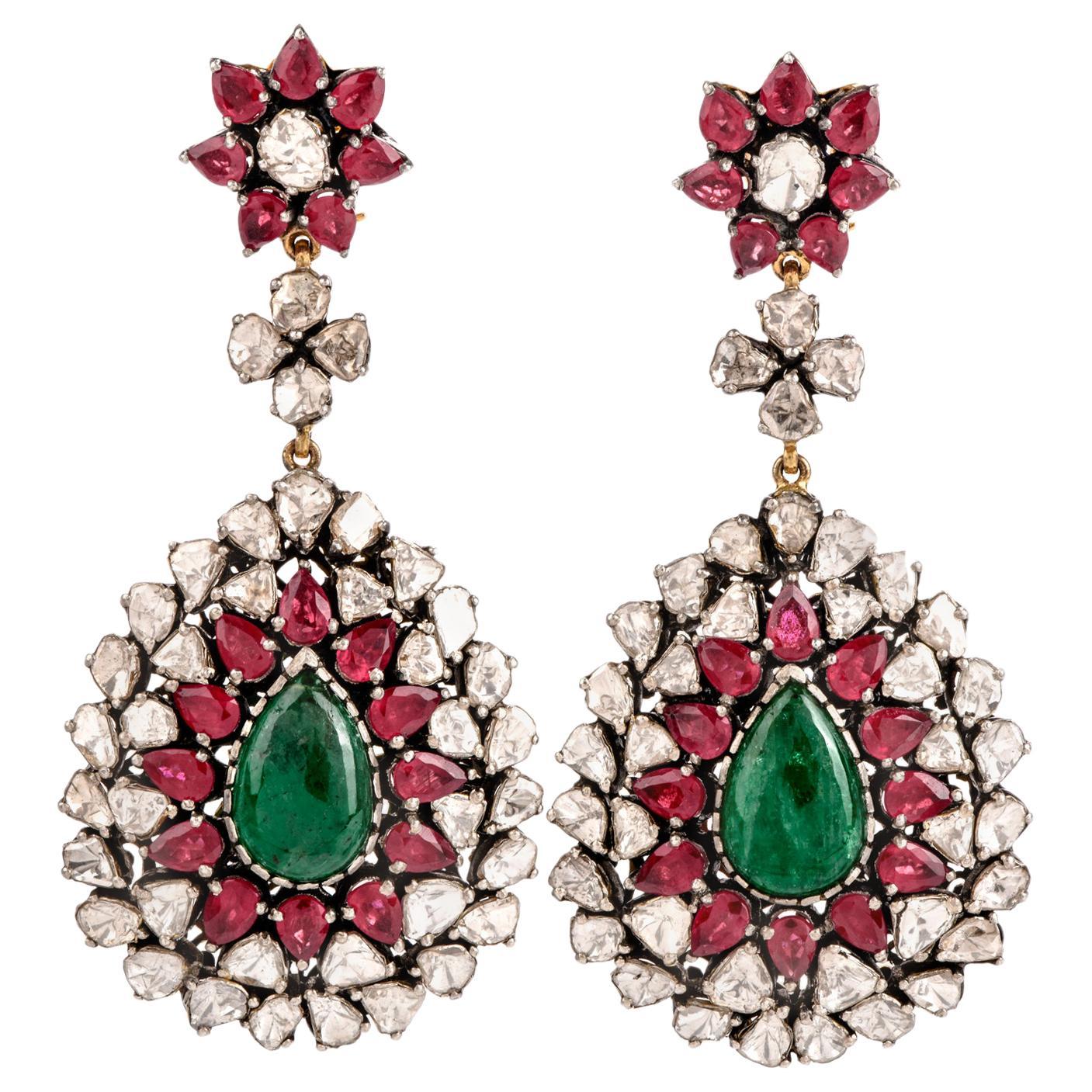 Loren Jewels Emerald Ruby Diamond 14 Karat Gold Large Dangle Earrings