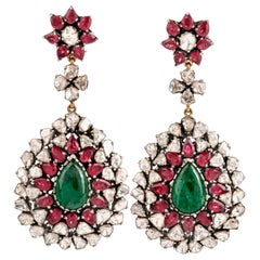 Loren Jewels Emerald Ruby Diamond 14 Karat Gold Large Dangle Earrings