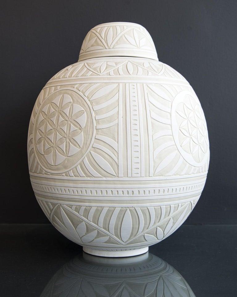 Large Engraved Ginger Jar - decorative, detailed, handcrafted, porcelain vessel - Black Abstract Sculpture by Loren Kaplan