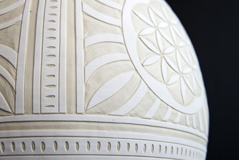 This beautifully detailed large porcelain vessel was created by ceramicist Loren Kaplan.   'Ginger jars' were first used in China thousands of years ago as a means of storing and shipping precious spices. Ginger became a popular spice in the western