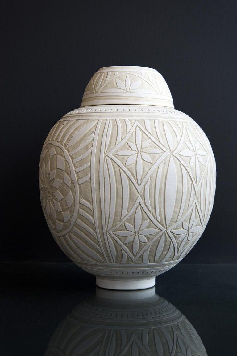 Medium Engraved Ginger Jar - decorative, detailed, handcrafted, porcelain vessel - Sculpture by Loren Kaplan