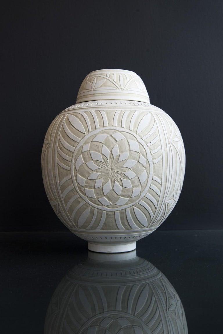 Medium Engraved Ginger Jar - decorative, detailed, handcrafted, porcelain vessel - Black Abstract Sculpture by Loren Kaplan