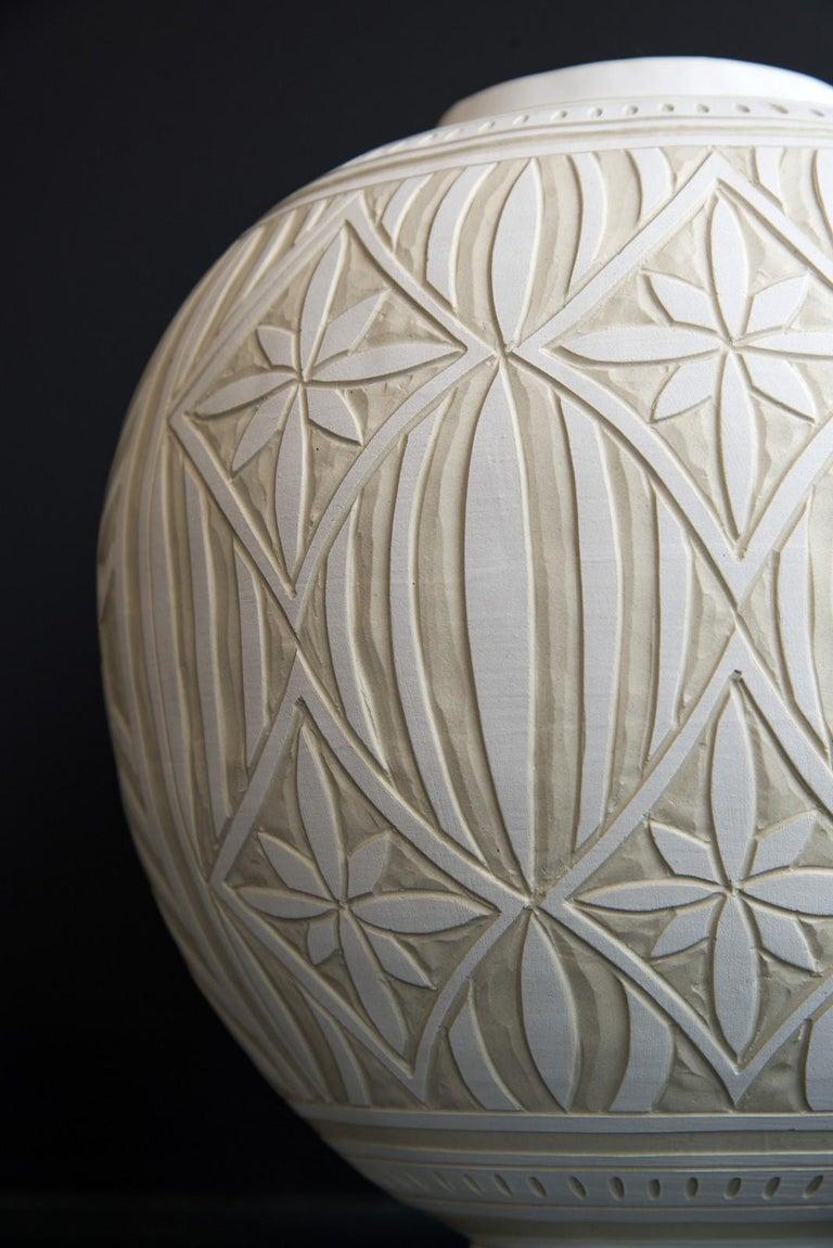 Medium Engraved Ginger Jar - decorative, detailed, handcrafted, porcelain vessel For Sale 1