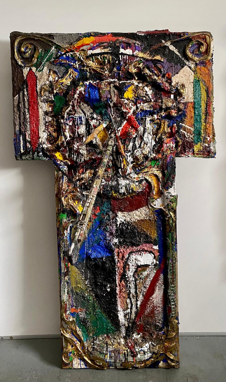 LOREN MUNK (american b. 1951) MUNKEY BUSINESS Signed and dated 'Munk 84' verso, mixed media construction with paint brushes, mirrored mosaic tile, gold leaf and oil paint 57 x 33 x 23 in. (144.8 x 83.8 x 58.4cm)  Provenance: Malcolm Forbes