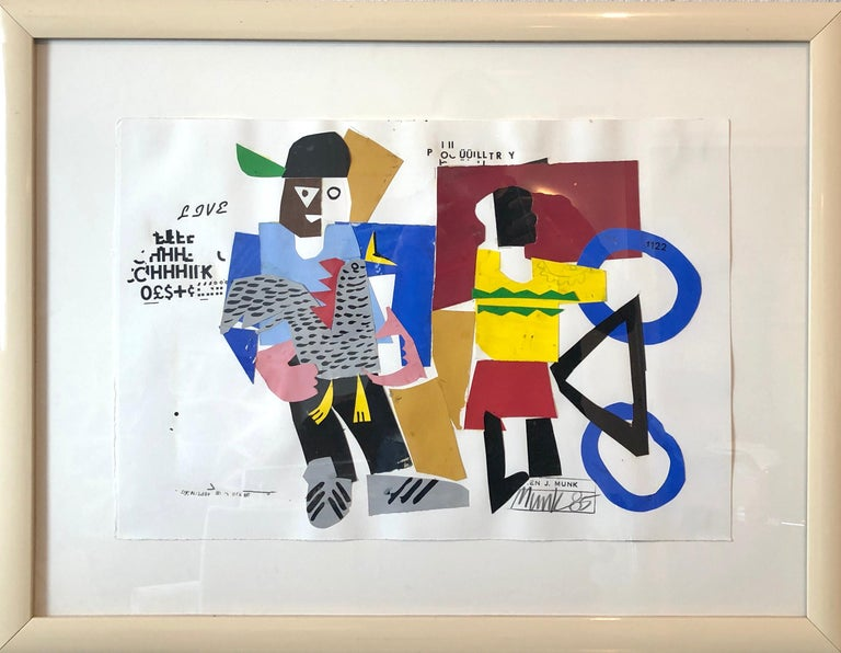 Mixed Media Neo Expressionist Collage Painting African American Kids, Bicycle NY - Neo-Expressionist Mixed Media Art by Loren Munk